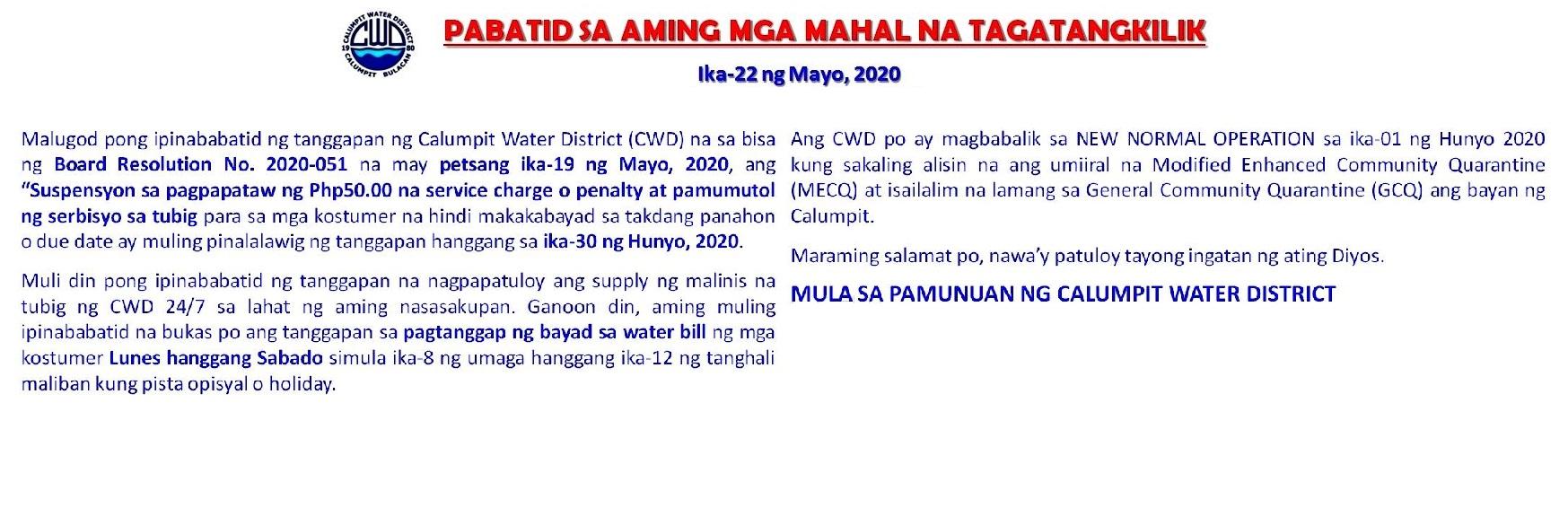 Pabatid Sa Aming Mga Mahal Na Tagatangkilik 05-22-20 for banner