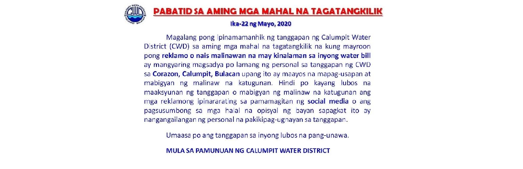 Pabatid Sa Aming Mga Mahal Na Tagatangkilik 05-22-20a for banner